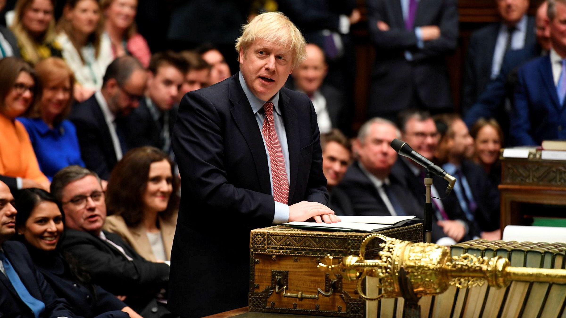 Storbritannias statsminister Boris Johnson på sin første dag i det nye Parlamentet etter valgseieren.