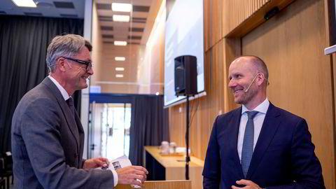Aker-sjef Øyvind Eriksen og Kjetel Digre, som blir sjef i det fusjonerte selskapet.