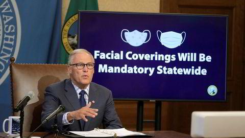 Washington-guvernør Jay Inslee la tirsdag frem ordren om maskepåbud. Påbudet blir gjeldende fra fredag.