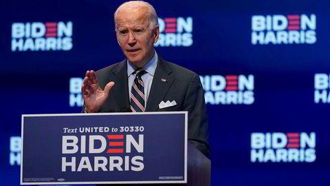 Joe Biden møter pressen i Wilmington i Delaware onsdag.