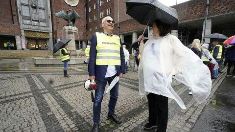 Akademikerne, Kommuneansattes Hovedsammenslutning (KAH), Unio og YS brøt natt til onsdag lønnsforhandlingene i Oslo kommune. Forhandlingsleder Erik Graff sier han er skuffet over utfallet. Her fra streiken blant 140 ansatte i Oslo rådhus i mai i fjor.