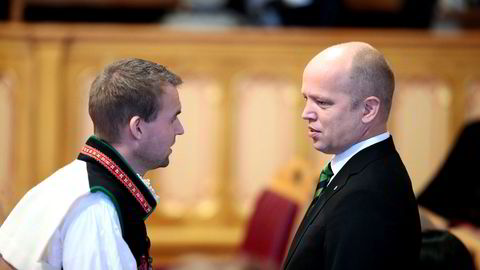 KrFs Kjell Ingolf Ropstad og Sp-leder Trygve Slagsvold Vedum under åpningen av Stortinget 2018.