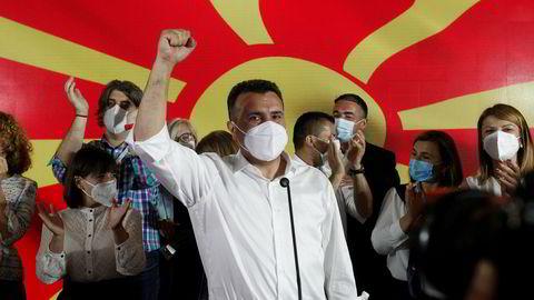 Tidligere statsminister Zoran Zaevs sosialdemokratiske parti SDSM erklærer seieren i valget til nasjonalforsamling i Nord-Makedonia.