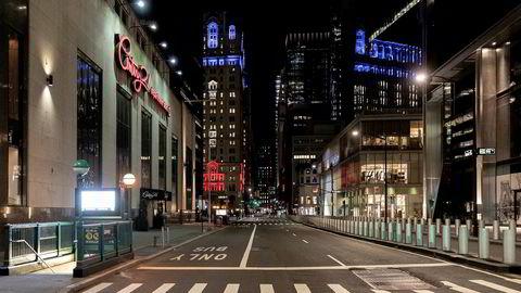 Også ved Wall Street er det tomme gater om dagen.