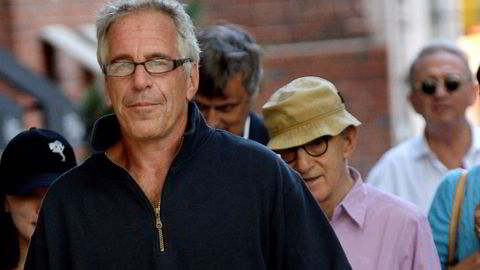 Jeffrey Epstein looks straight into the camera while walking with Woody Allen and his wife Soon Yi-Previn, who you can glimpse just behind him. The men in the back are Norwegians Håkon Gundersen and Terje Rød-Larsen. The latter is out of focus and to the far right. (Photograph: Elder Ordonez/SplashNews.com)