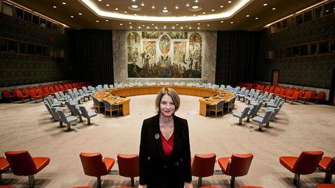Mona Juul, ny FN-Ambassadør i New York, her i i FNs sikkerhetsråd.