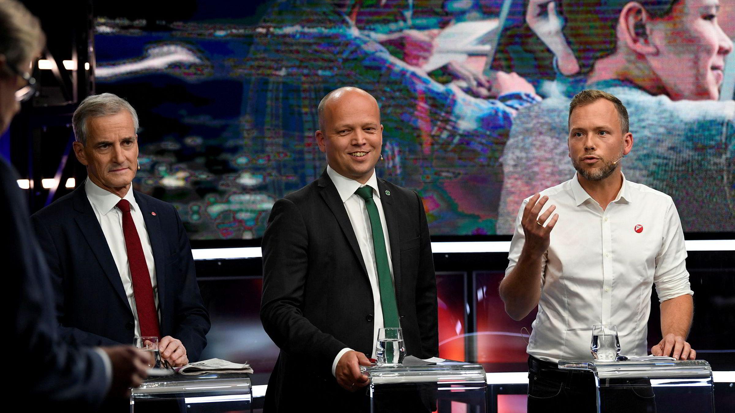 Sammen har Ap-leder Jonas Gahr Støre (fra venstre), Sp-leder Trygve Slagsvold Vedum og SV-leder Audun Lysbakken rødgrønt flertall på målingene.