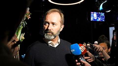 Trond Giske da han møtte pressen etter paneldebatten på mediekonferansen Svarte Natta i Tromsø.