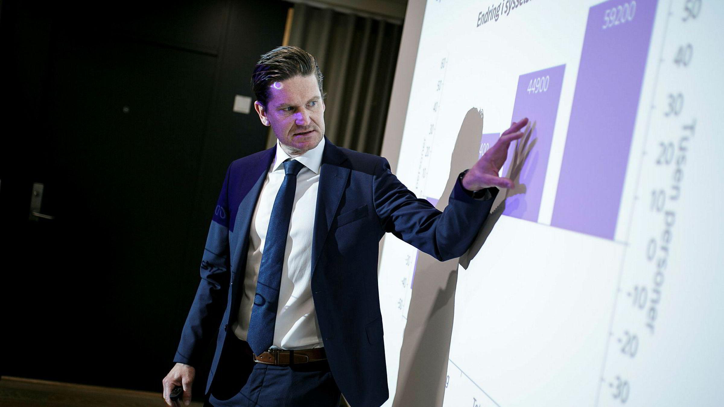 Sjeføkonom Kjetil Olsen i Nordea Markets la tirsdag frem ferske prognoser for norsk økonomi.