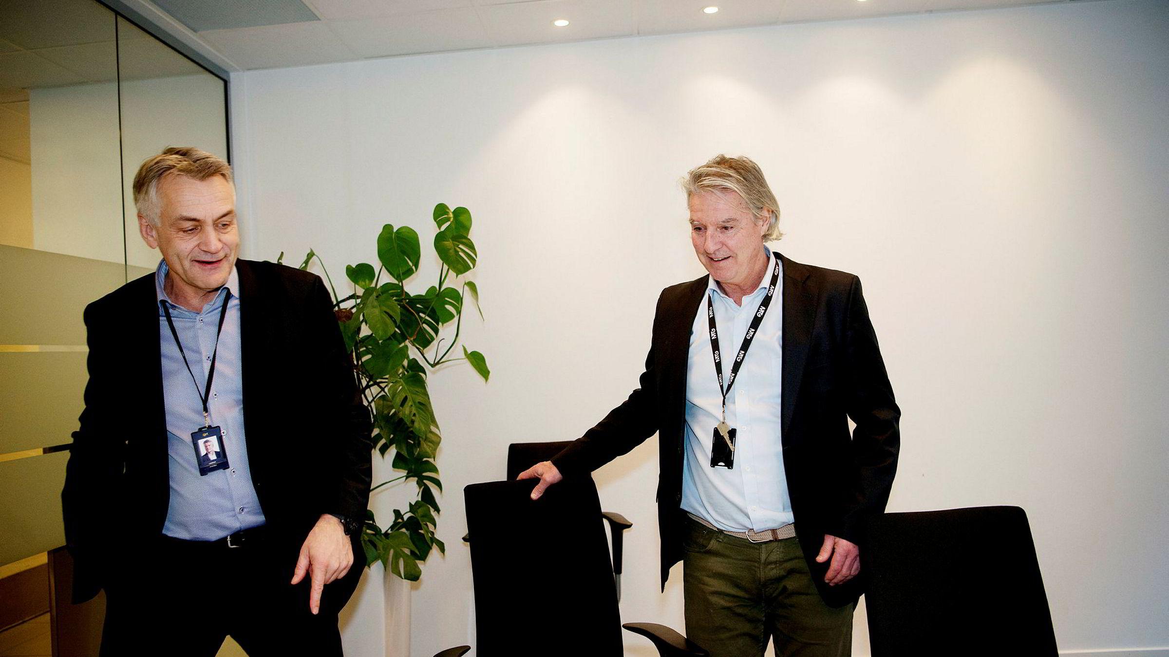 Gunnar Evensen i Get og TDC Norge og Morten Aass i MTG Norge, her i forbindelse med at fusjonen mellom selskapene ble annonsert 1. februar.