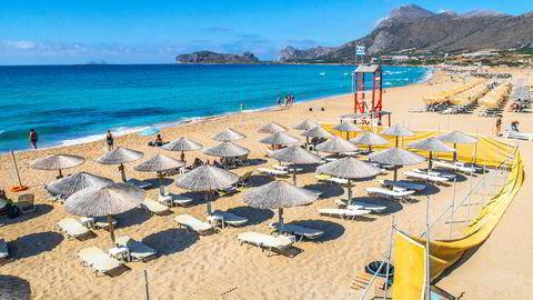 Pakkereiseoperatøren TUI tar sikte på å fly nordmenn til Kreta fra Gardermoen allerede samme uke som Europa-reiser blir tillatt for nordmenn. Her fra Falasserna på Kreta i fjor sommer.