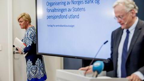 Eks-finansråd Svein Gjedrem foreslo i fjor å flytte Oljefondet ut av Norges Bank. Finansminister Siv Jensen legger tirsdag frem stortingsmeldingen om Oljefondet.