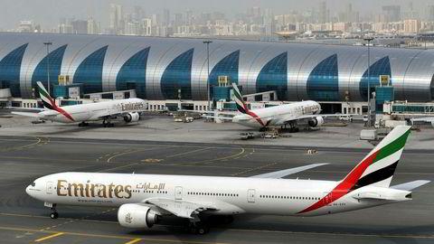 Fly fra flyselskapet Emirates ved Dubai International Airport tidligere i år.