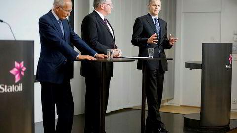 USA-oppkjøpene for 250 milliarder kroner skjedde under Helge Lunds (til høyre) ledelse, mens Eldar Sætre (midten) var finansdirektør og konserndirektør og Svein Rennemo var styreleder.