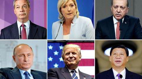 Nigel Farage, brexit-forkjemper og tidligere Ukip-leder (øverst fra venstre), Marine Le Pen, leder i franske Front National, Recep Tayyp Erdogan, president i Tyrkia, Vladimir Putin, president i Russland, Donald Trump, påtroppende president i USA og Xi Jinping i Kina.