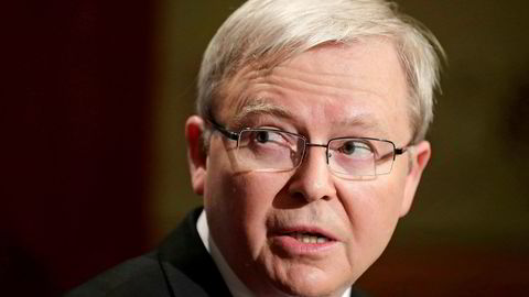 IPI board chairman Kevin Rudd has not commented on IPI's ties to Epstein until now. (Photograph: Rick Rycroft/AP/NTB Scanpix)
