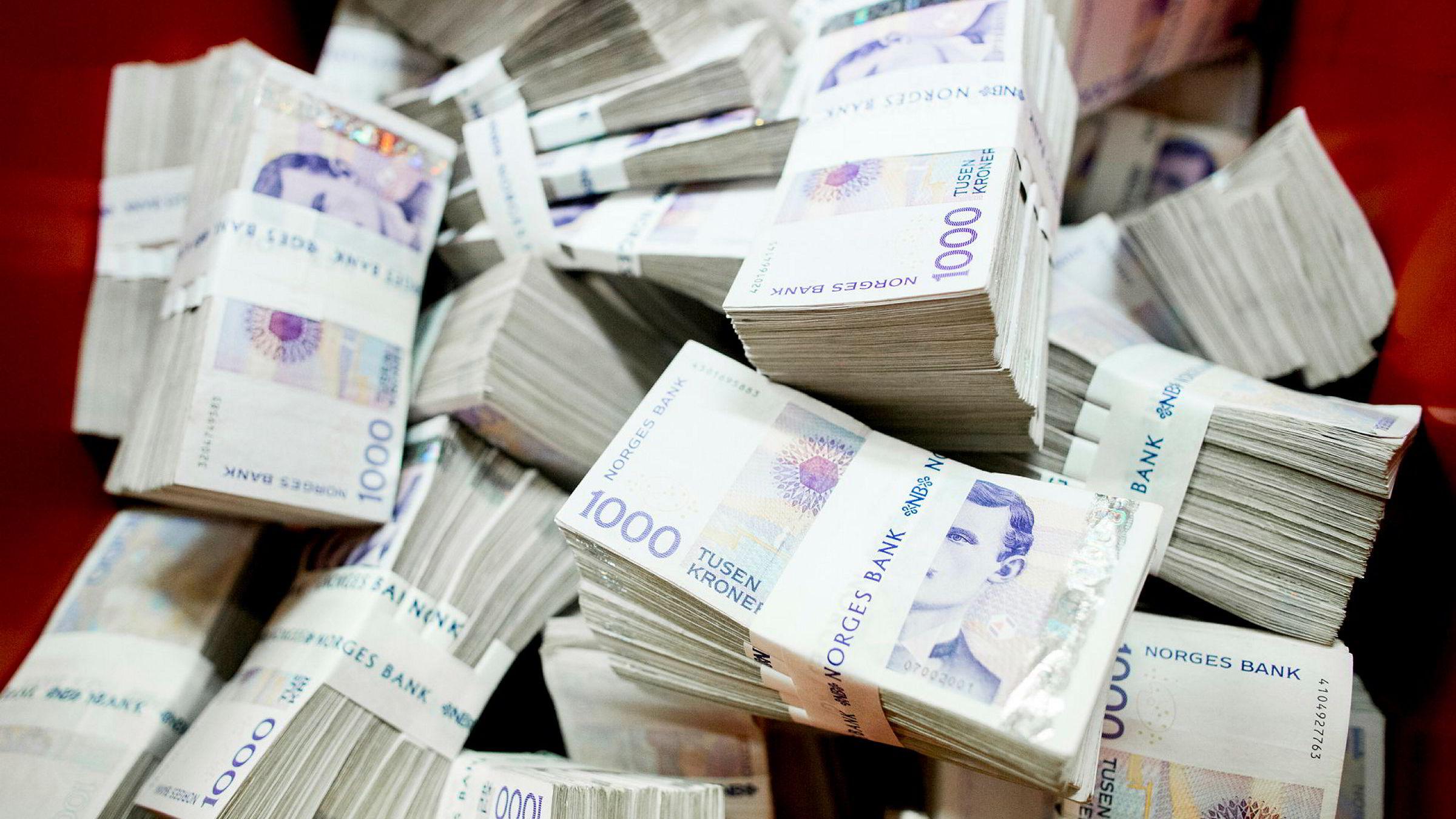 Oslo 20151006. Norges Bank makulerer gamle og ødelagte sedler i sine lokaler i Oslo tirsdag. Den gjeldende 1000-kroneseddelen fra 2001, som kommer fra