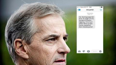 Tekstmeldingen ble sendt fra Ap sentralt og nådde rundt 500.000 velgere.