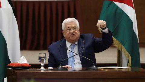 Palestinian president Mahmoud Abbas heads a leadership meeting at his headquarters, in the West Bank city of Ramallah, Tuesday, May 19, 2020. (Alaa Badarneh/Pool Photo via AP)