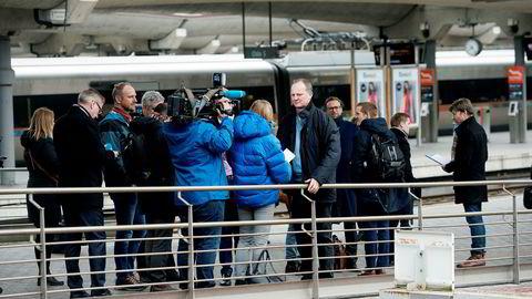Samferdselsminister Ketil Solvik-Olsen (Frp) under offentliggjøringen av hovedtrekkene i Nasjonal transportplan.