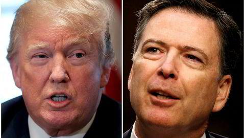 Tidligere FB-direktør James Comey (til høyre) går igjen hardt ut mot president Donald Trump.