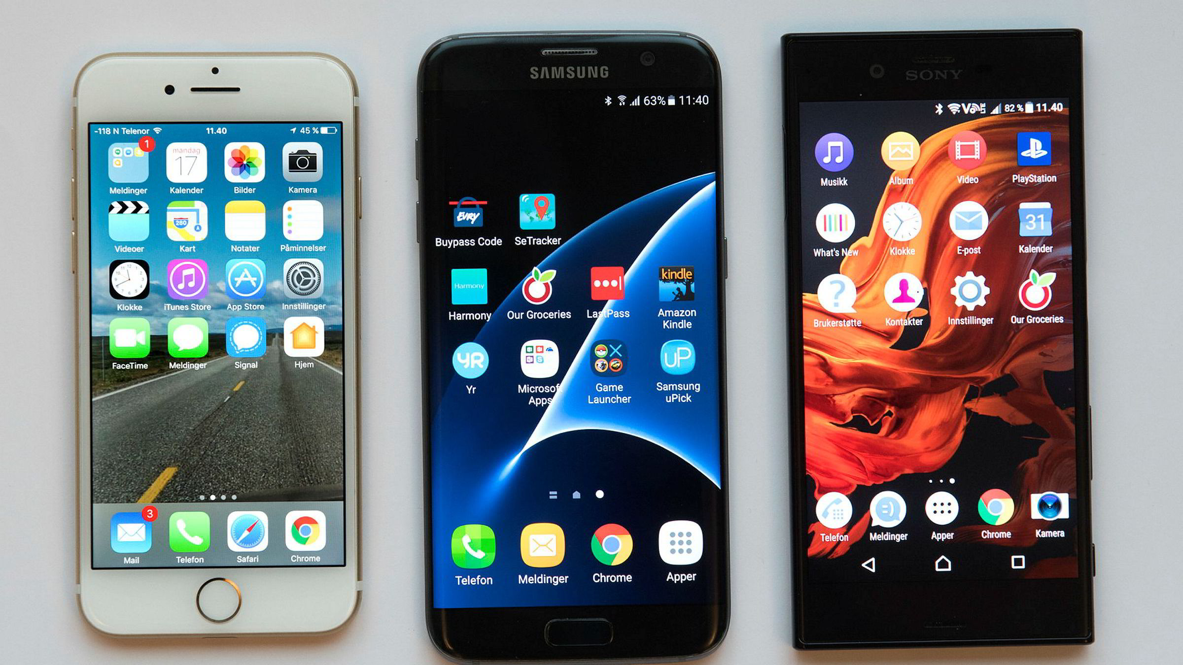 De store mobilprodusentene – Apple, Samsung og Sony – er blant selskapene som er mest utsatt for piratkopierte varer. Telefonene på bilde er ekte.