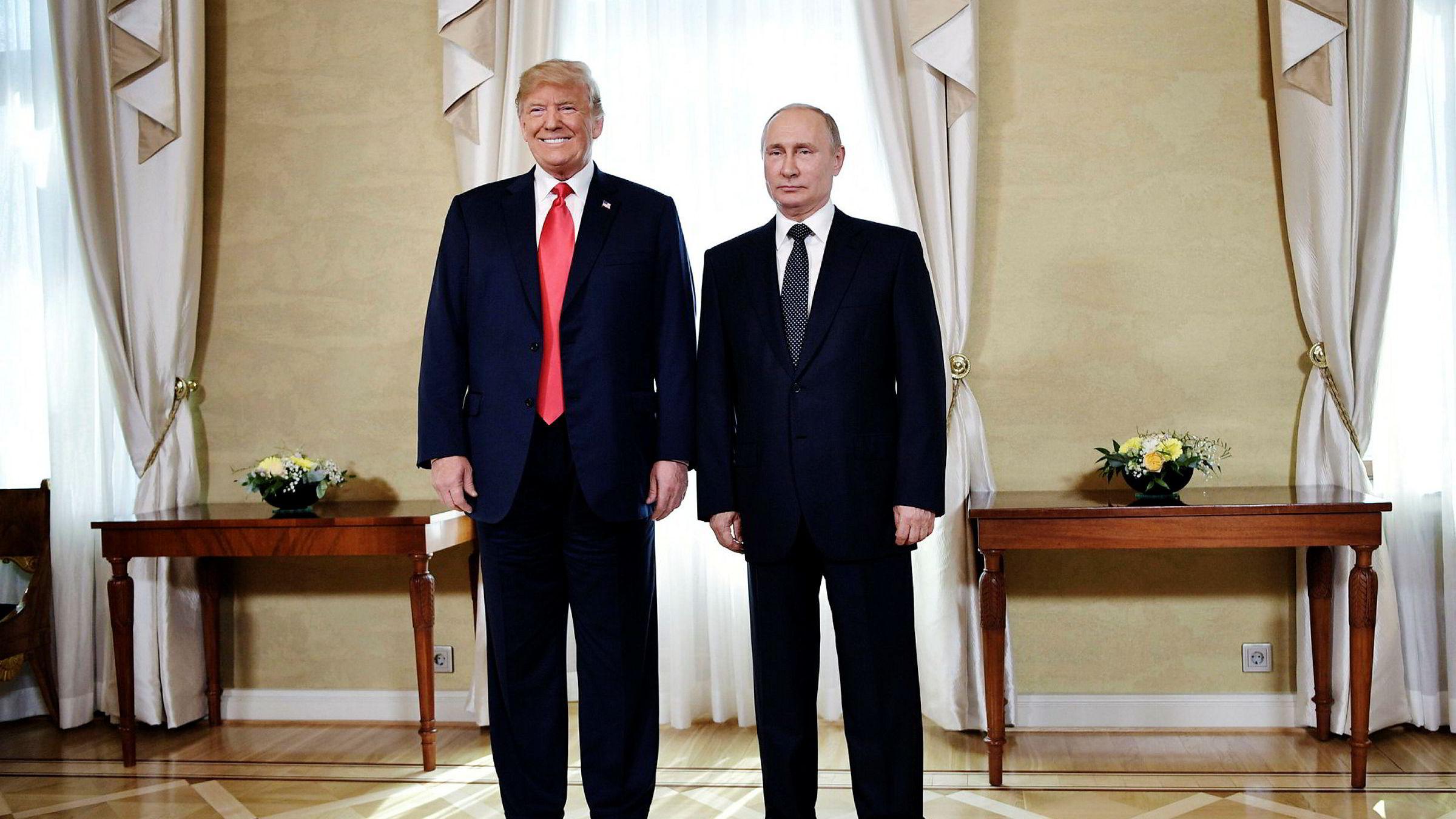 Donald Trumps Europa-rundreise har etterlatt seg sår det vil ta lang tid å lege. Her med Russlands president Vladimir Putin før et møte i Helsingfors mandag.