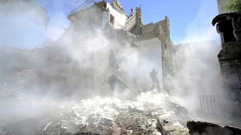 Eksplosjonsområde i Syrias hovedstad Damaskus tidligere denne måneden