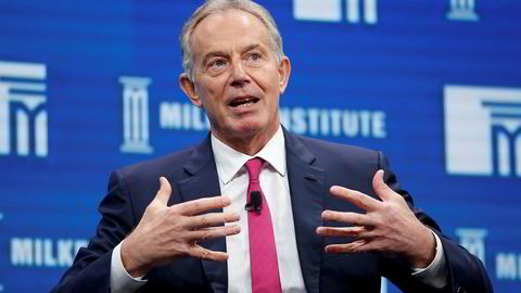 FILE PHOTO: Former British Prime Minister Tony Blair speaks at the Milken Institute Global Conference in Beverly Hills, California, U.S., May 3, 2016. REUTERS/Lucy Nicholson/File Photo