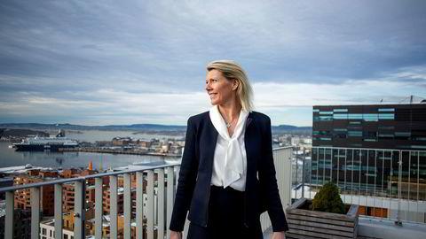 Kjerstin Braathen tok over som konsernsjef i Norges største bank i september i fjor. Torsdag la hun frem sin første helårsrapport for banken. Her fra toppen av DNBs lokaler i Oslo.
