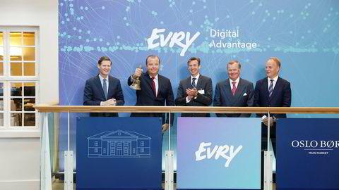 It-selskapet Evry hadde tapetsert Oslo Børs både innvendig og utvendig da det gjorde comeback på Oslo Børs etter 18 måneder.