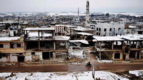 Bildet, som fra denne uken, viser ødelagte bygninger i Homs i Syria.