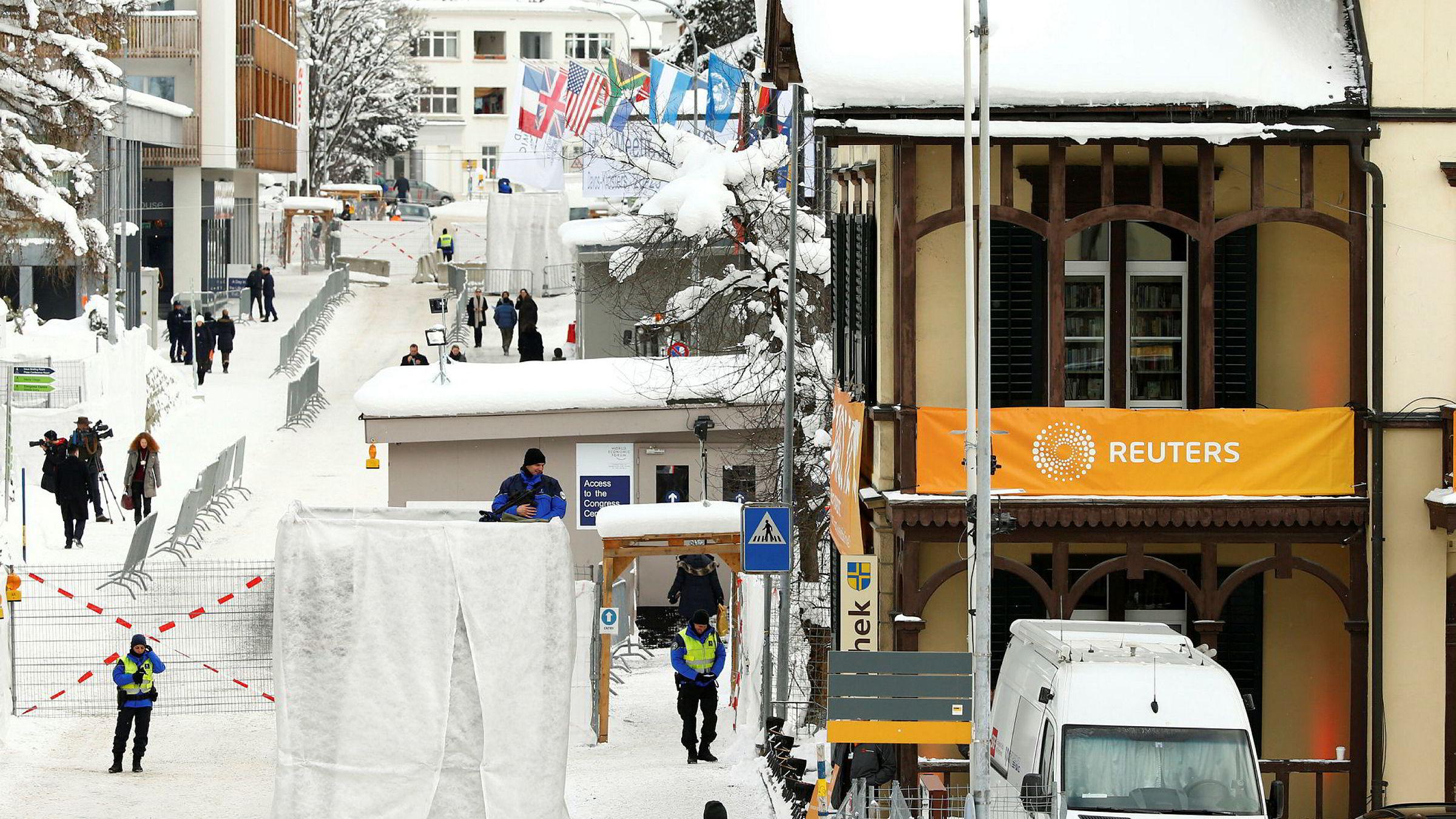 Området foran Davos Congress Centre i forkant av fjorårets World Economic Forum.