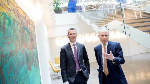 Gaute Ulltveit-Moe (til høyre) blir ny meglersjef innen aksjer hos Nordea i Oslo. Han og Thorodd Bakken, leder for finansiell rådgivning i konsernet, må ta igjen forspranget til DNB Markets i Norge.