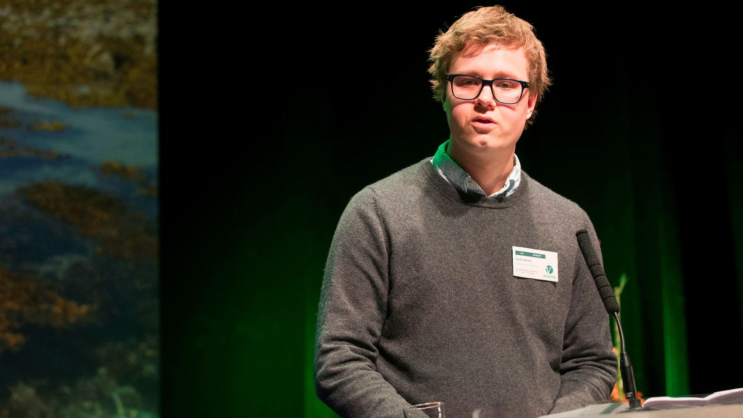 Unge Venstres leder Tord Hustveit.