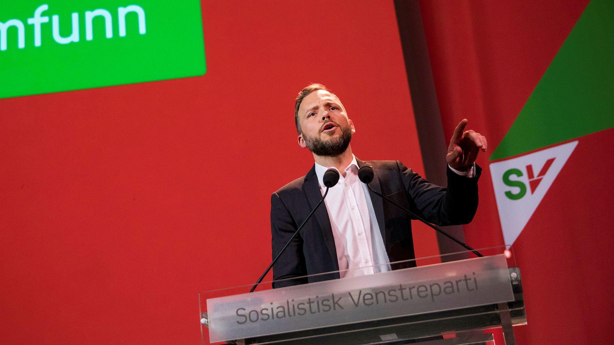 Partileder Audun Lysbakken innledet SVs landsmøte fredag: