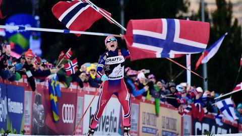 Therese Johaug ble dømt til 18 måneders utestengelse og mister OL i Sør-Korea i 2018. Her fra triumfen i Tour de Ski i 2016.