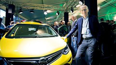 Opel-sjef Karl-Thomas Neumann presenterte Ampera, Opel nye elbil under Zerokonferansen 2016.