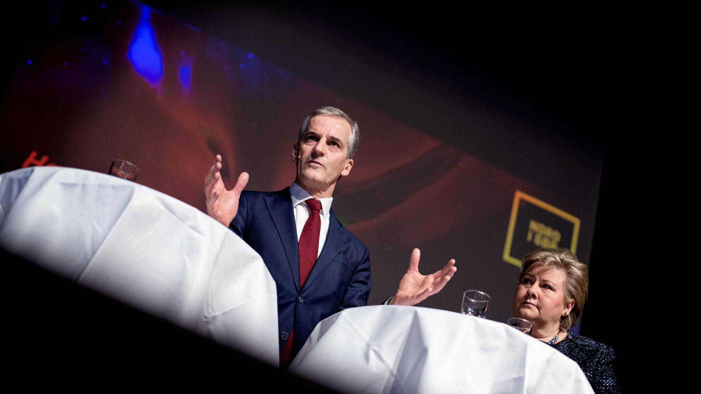 Arbeiderpartileder Jonas Gahr Støre og statsminister Erna Solberg (H) møttes onsdag til debatt på Plaza i regi av konferansen Nord i sør.