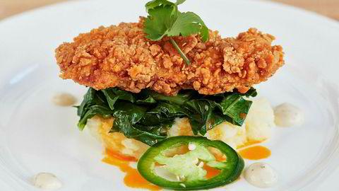 Kjøttfri kylling. Retten Southern fried chicken laget pålaboratoriekylling fra Memphis Meats. I 2021 kan labkylling bli like billig som vanlig kylling.