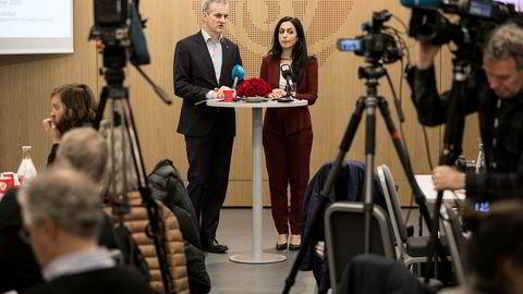 Nestleder Hadia Tajik og partileder Jonas Gahr Støre møtte pressen for å fortelle om Arbeiderpartiets program de neste årene.
