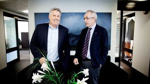 Inkassokameratene Jon H. Nordbrekken (til høyre) og Olav Dalen Zahl startet og driver gjeldsporteføljekjøp- selskapet B2 Holding og merker stor uro blant bankene i Sør-Europa.