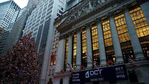 Børsbygningen på Wall Street på nedre Manhattan i New York.