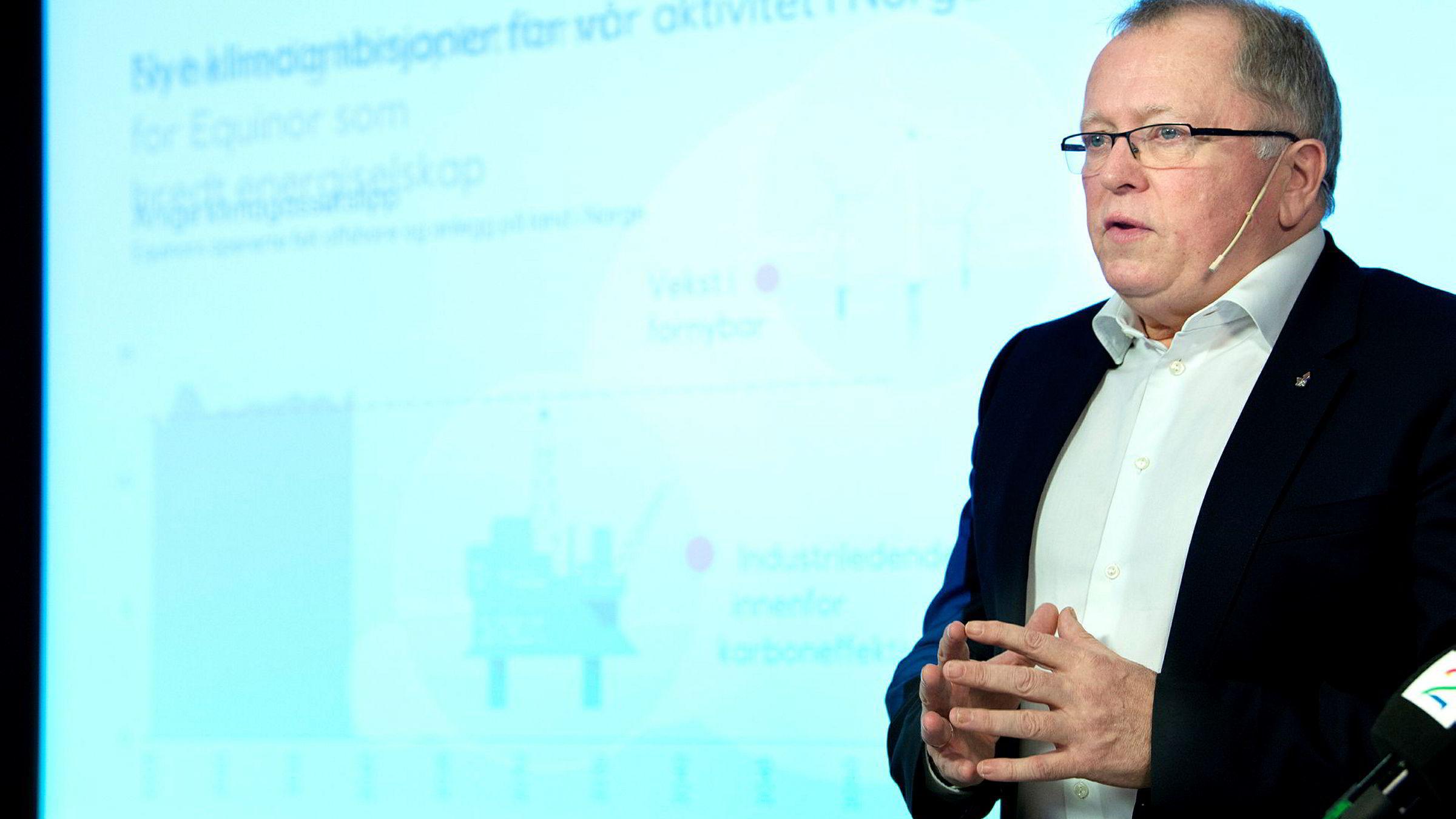 Equinor-sjef Eldar Sætre presenterte mandag selskapets nye klimaambisjoner for norsk sokkel.