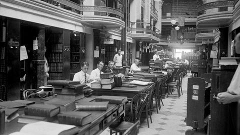USA har høy patentintensitet, og er samtidig et av verdens mest konkurransepregede og innovative land. På bildet landets patentkontor slik det så ut i 1925.