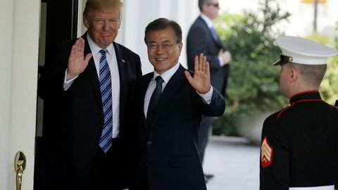 President Donald Trump møter sin sørkoreanske motpart Moon Jae-in i Det hvite hus i dag. Bildet er fra deres forrige møte i Det hvite hus 30. juni ifjor.