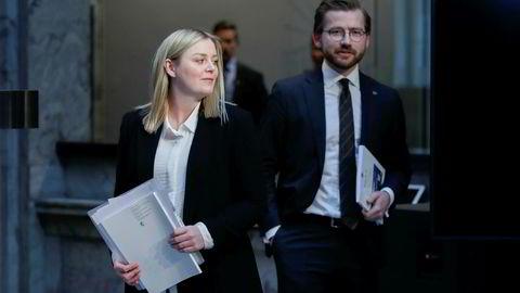 Olje- og energiminister Tina Bru (H) sammen med klima- og miljøminister Sveinung Rotevatn (V). Foto: Vidar Ruud / NTB scanpix