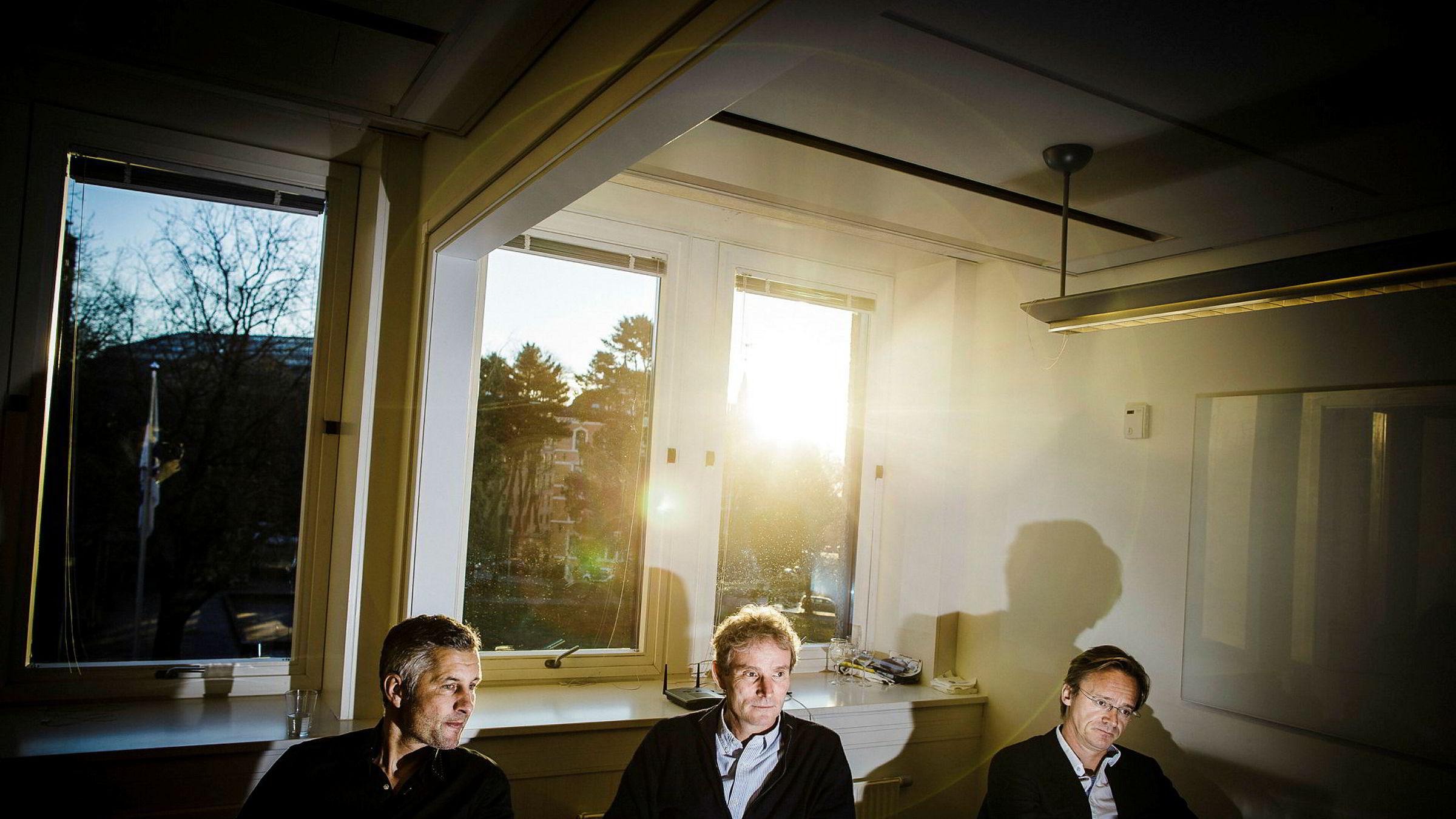 Northzone-gründerne Torleif Ahlsand (fra venstre), Tellef Thorleifsson og Bjørn Stray hadde en ligningsinntekt på henholdsvis 41, 45 og 48 millioner kroner i 2016.