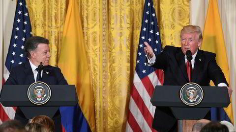President Donald Trump kalte krisen i Venezuela en skam for menneskeheten under en felles presskonferanse med Colombias President Juan Manuel Santos i Det hvite hus.