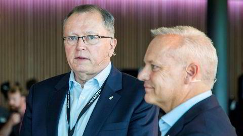 31. august møter Equinor en av sine tidligere ansatte i retten etter en årelang konflikt. På bildet er avtroppende konsernsjef Eldar Sætre (til venstre) og Anders Opedal (til høyre) som tar over som ny konsernsjef i november.